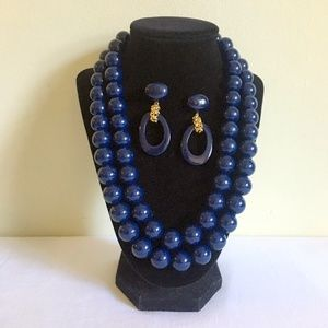 60s Monet Navy Chunky Bead Necklace & Earrings Set